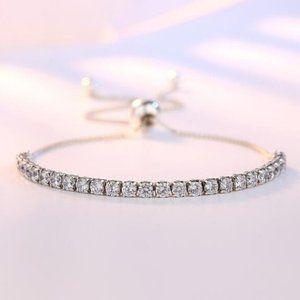 925 Sterling Silver Diamond Tennis Net Bracelet